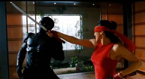 Oh yeah, there's a red ninja woman in this film, but no one really knows who she is.
