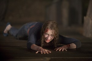 Ah. The classic 'bloody girl getting dragged' scene in every teen horror.